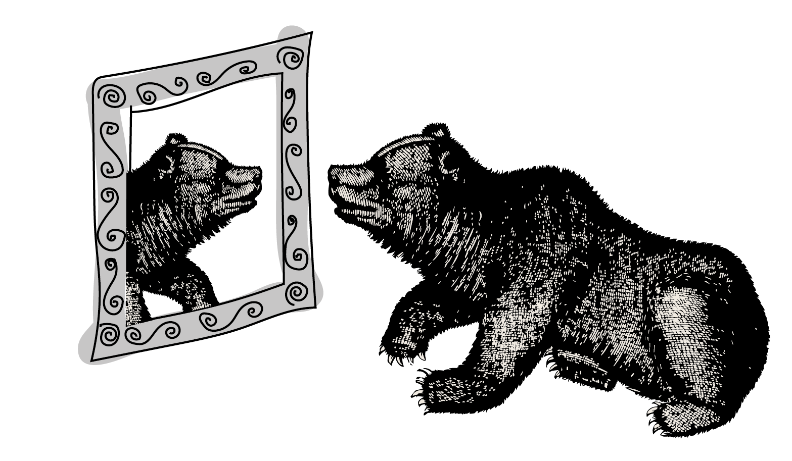 Bear looking in mirror