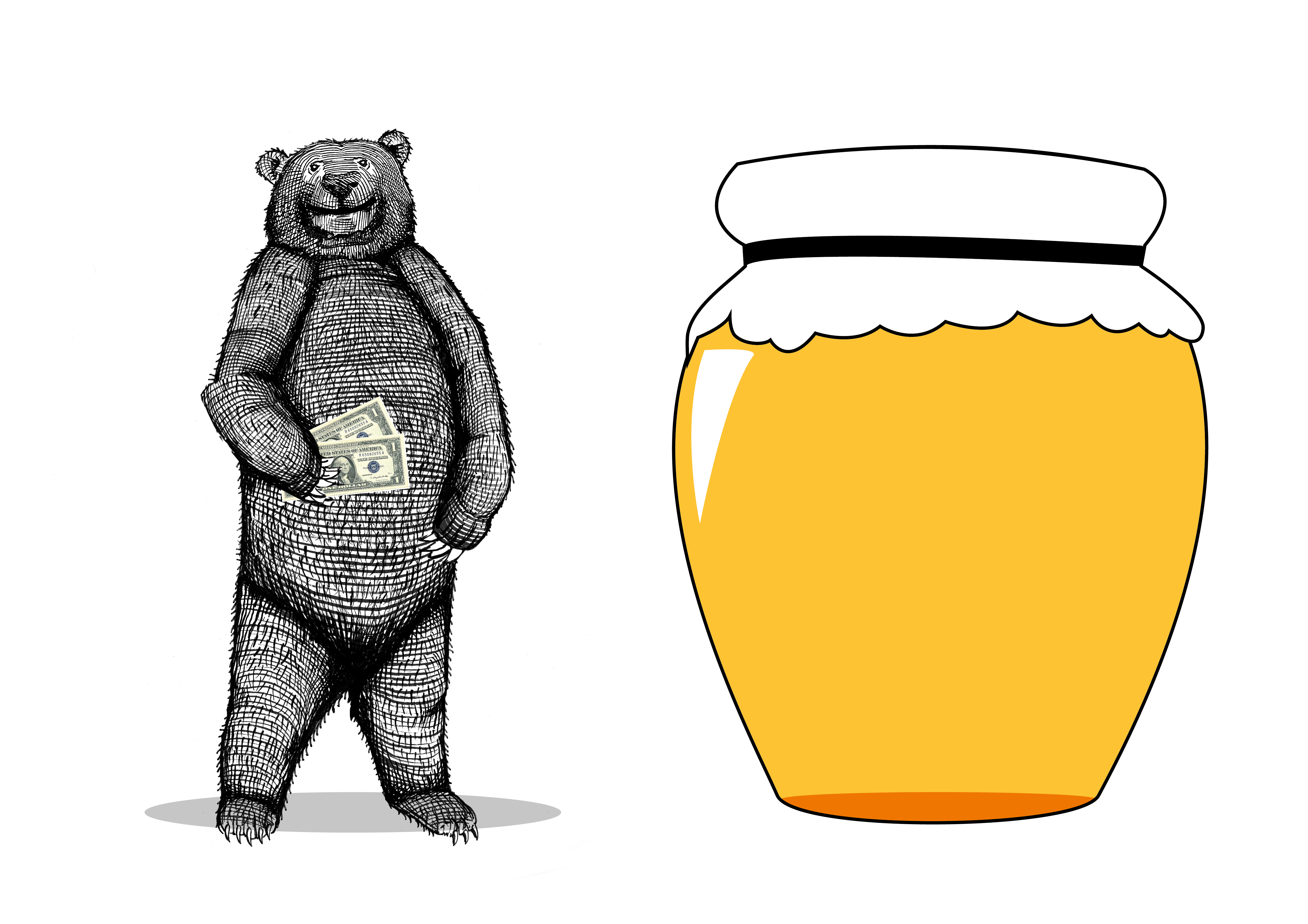 Bear and honey pot